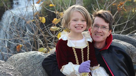 Brian and Maura at Minnehaha Falls for Halloween (2013)