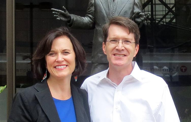 Mayor Betsy Hodges and Brian in front of City Hall