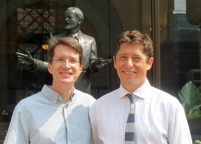 Brian and Jacob Frey outside city hall